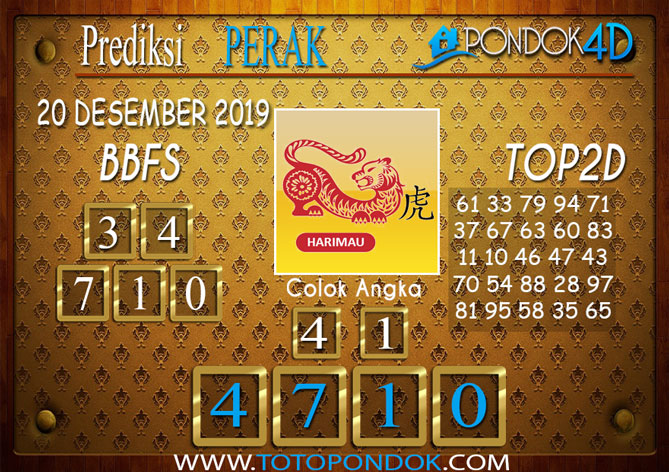 Prediksi Togel PERAK PONDOK4D 20 DESEMBER 2019