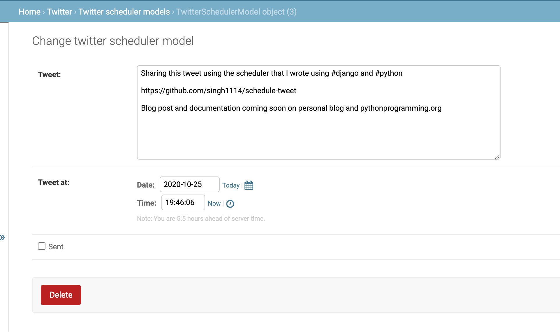 Scheduling a tweet in django admin