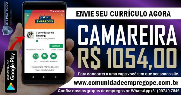 CAMAREIRA COM SALÁRIO DE R$ 1054,00 PARA EMPRESA DO SEGMENTO HOSPITALAR