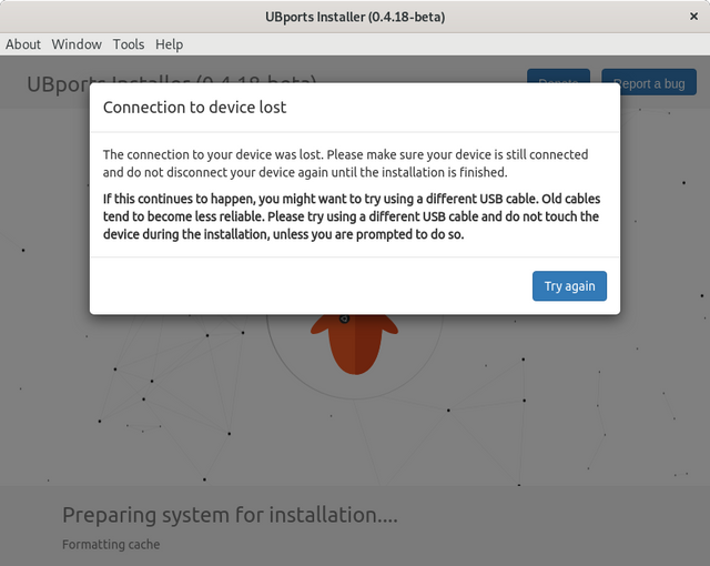 Screenshot of UBPorts when the Connection to the device is lost
