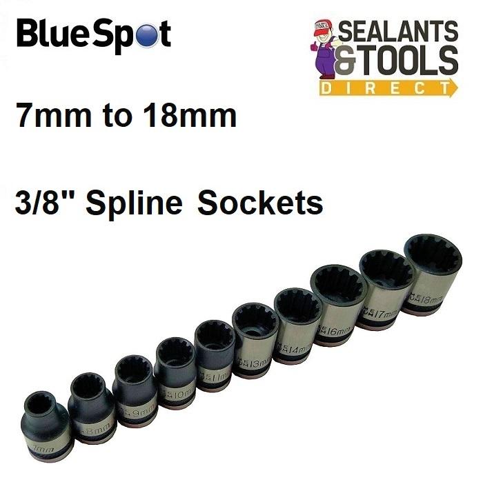 Blue Spot Star Spline Socket Set 3/8 inch 01543A