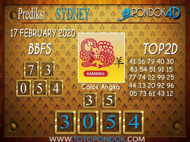 Prediksi Togel SYDNEY PONDOK4D 17 FEBRUARY 2020