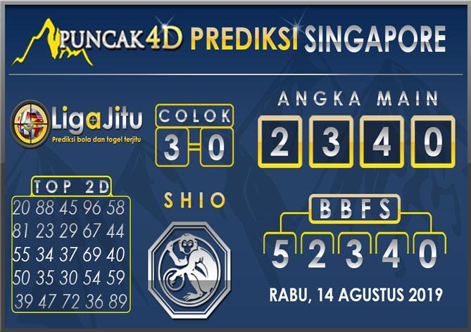 PREDIKSI TOGEL SINGAPORE PUNCAK4D 14 AGUSTUS 2019