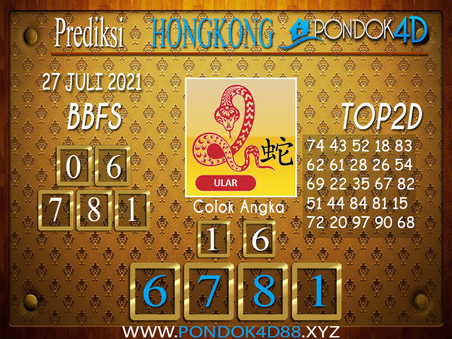 Prediksi Togel HONGKONG PONDOK4D 27 JULI