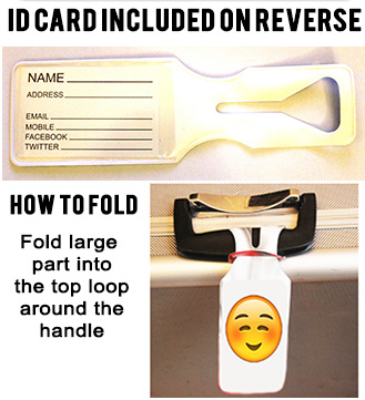 Oneloop Luggage Tag reverse picture and how to fold instructions