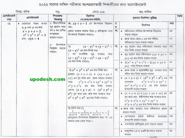Dakhil-1st-Week-Math-Assignment