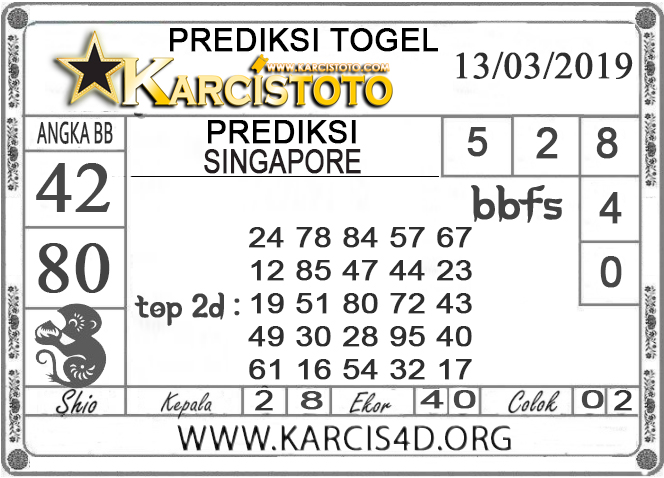 Prediksi Togel SINGAPORE KARCISTOTO 13 MARET 2019