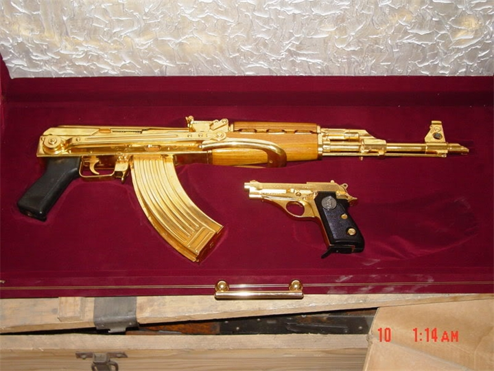 Gold AK 47 from the collection of Saddam Hussein