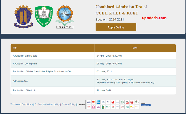 CUET, KUET & RUET Combined Admission Test 2021