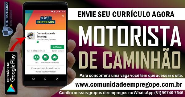 MOTORISTA DE CAMINHÃO PARA EMPRESA DE COLETA DE RESÍDUOS NO RECIFE