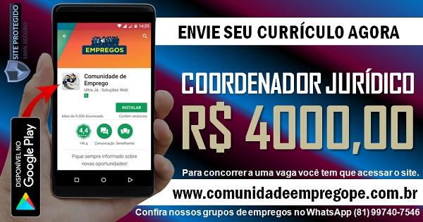 COORDENADOR JURÍDICO COM SALÁRIO DE R$ 4000,00 PARA EMPRESA DE TRANSPORTE