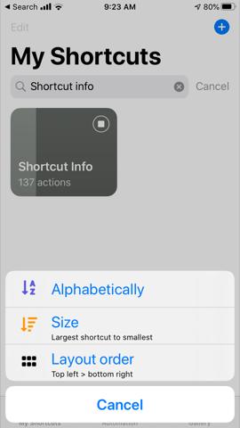 Shortcut sort menu