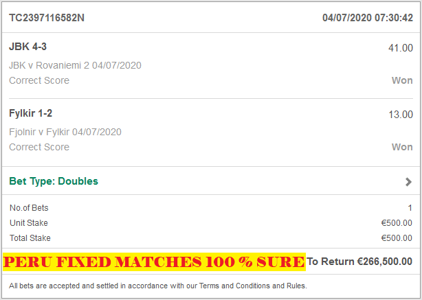 100 % SURE FIXED MATCHES
