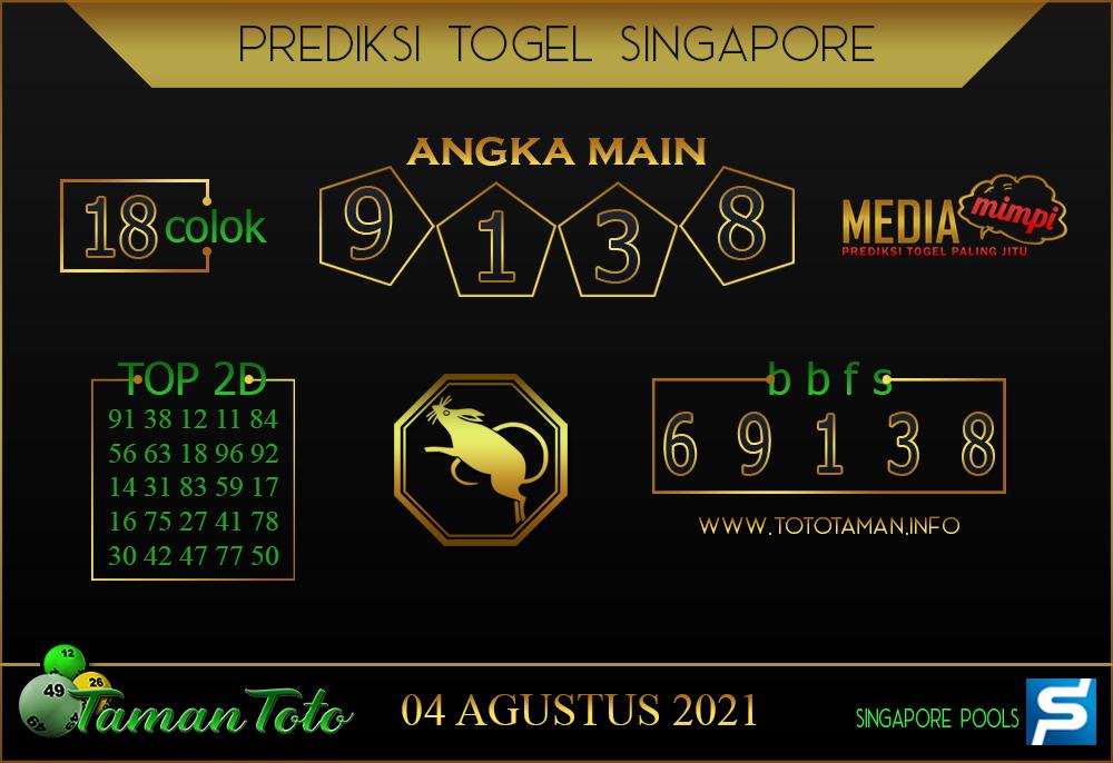 Prediksi Togel SINGAPORE TAMAN TOTO 04 AGUSTUS 2021