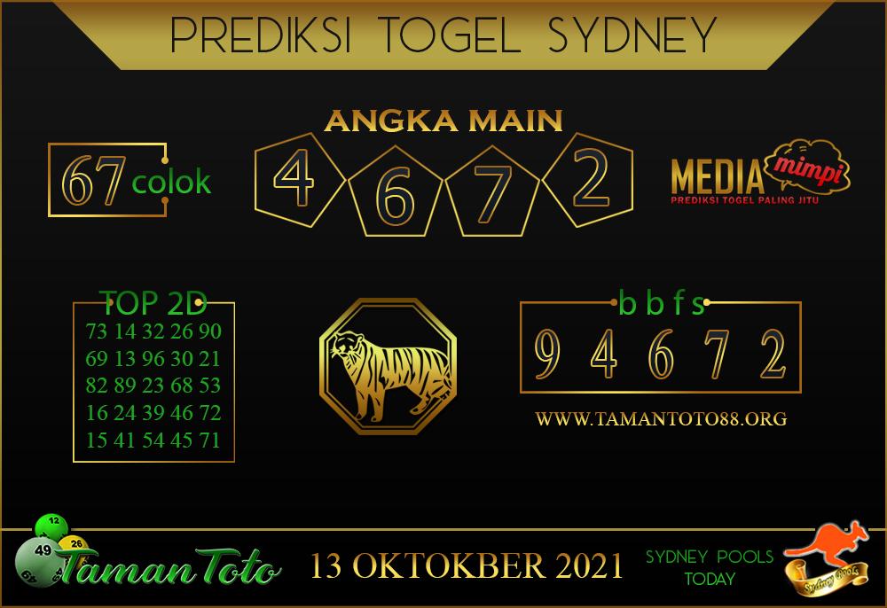 Prediksi Togel SYDNEY TAMAN TOTO 13 OKTOBER 2021