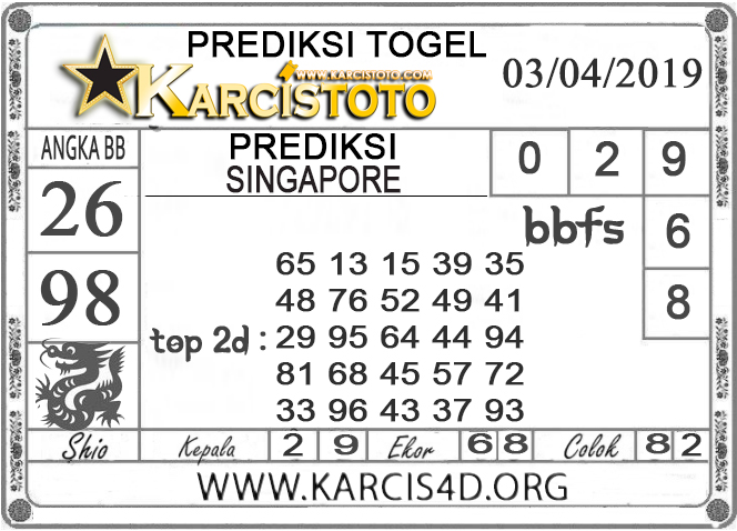Prediksi Togel SINGAPORE KARCISTOTO 03 APRIL 2019