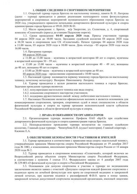 Открытый турнир г. Братска, памяти В. Н. Лагерева. 04-05 апреля 2020 3