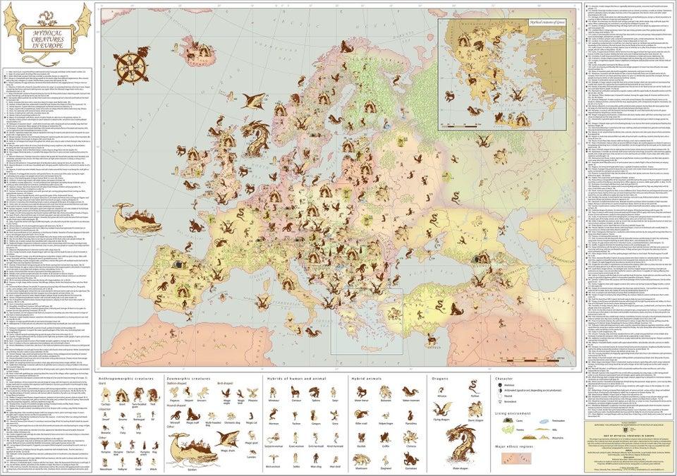 Mapa de (algumas) criaturas mitológicas europeias