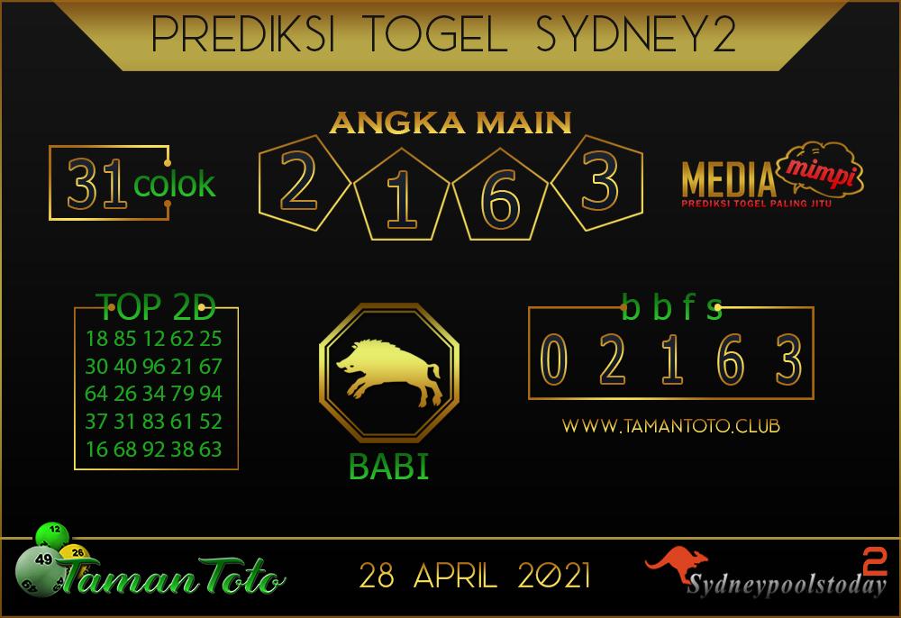 Prediksi Togel SYDNEY 2 TAMAN TOTO 28 APRIL 2021