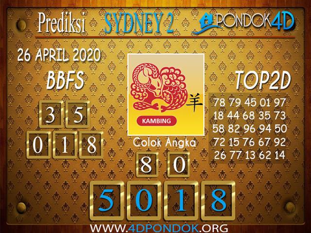 Prediksi Togel SYDNEY 2 PONDOK4D 26 APRIL 2020