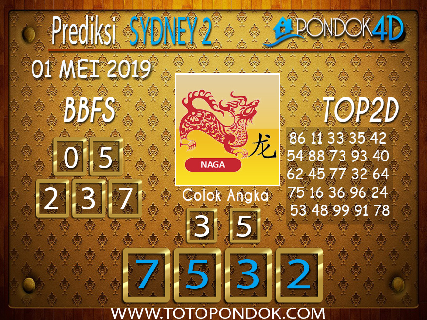 Prediksi Togel SYDNEY 2 PONDOK4D 01 MEI 2019