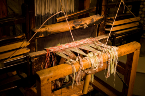 An image of a loom at Bowes Museum, showing how weaving in mythology really can be that confusing!
