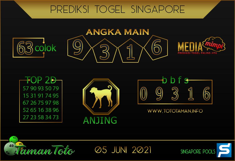 Prediksi Togel SINGAPORE TAMAN TOTO 05 JUNI 2021