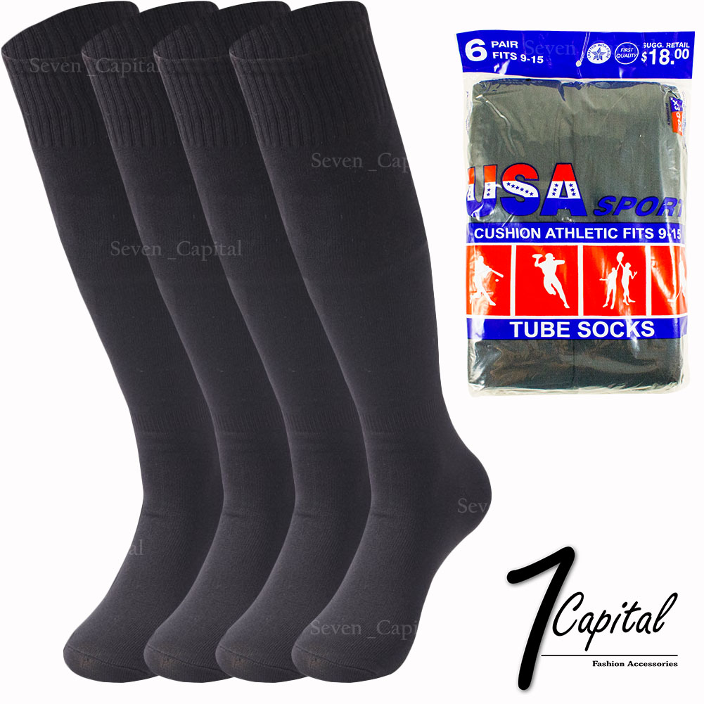 12 Pairs Mens Sports Socks Crew Athletic Cushioned Soccer USA 9-11 Cotton Black