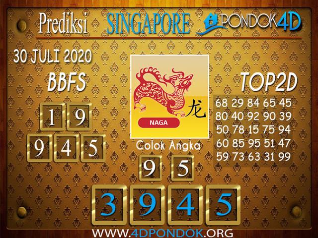 Prediksi Togel SINGAPORE PONDOK4D 30 JULI 2020