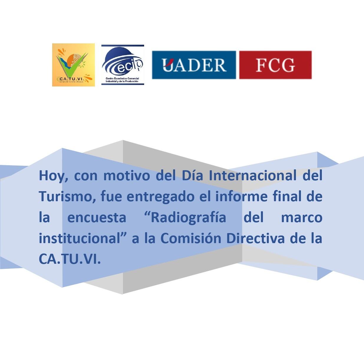 CATUVI: DÍA DEL TURISMO CON ENTREGA DE IMPORTANTE TRABAJO DE ALUMNOS DE UADER VILLAGUAY