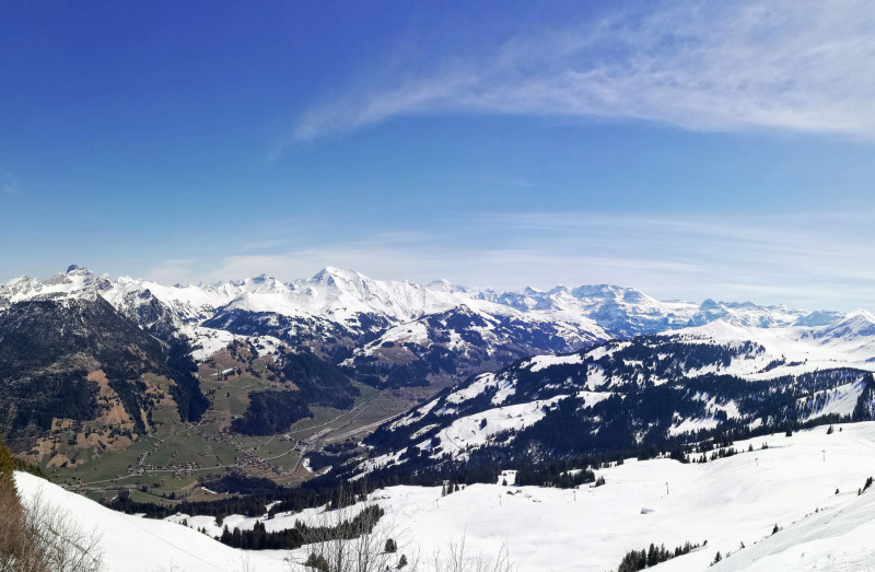 View from Rinderberg summit on Simmen valley leading to Lenk