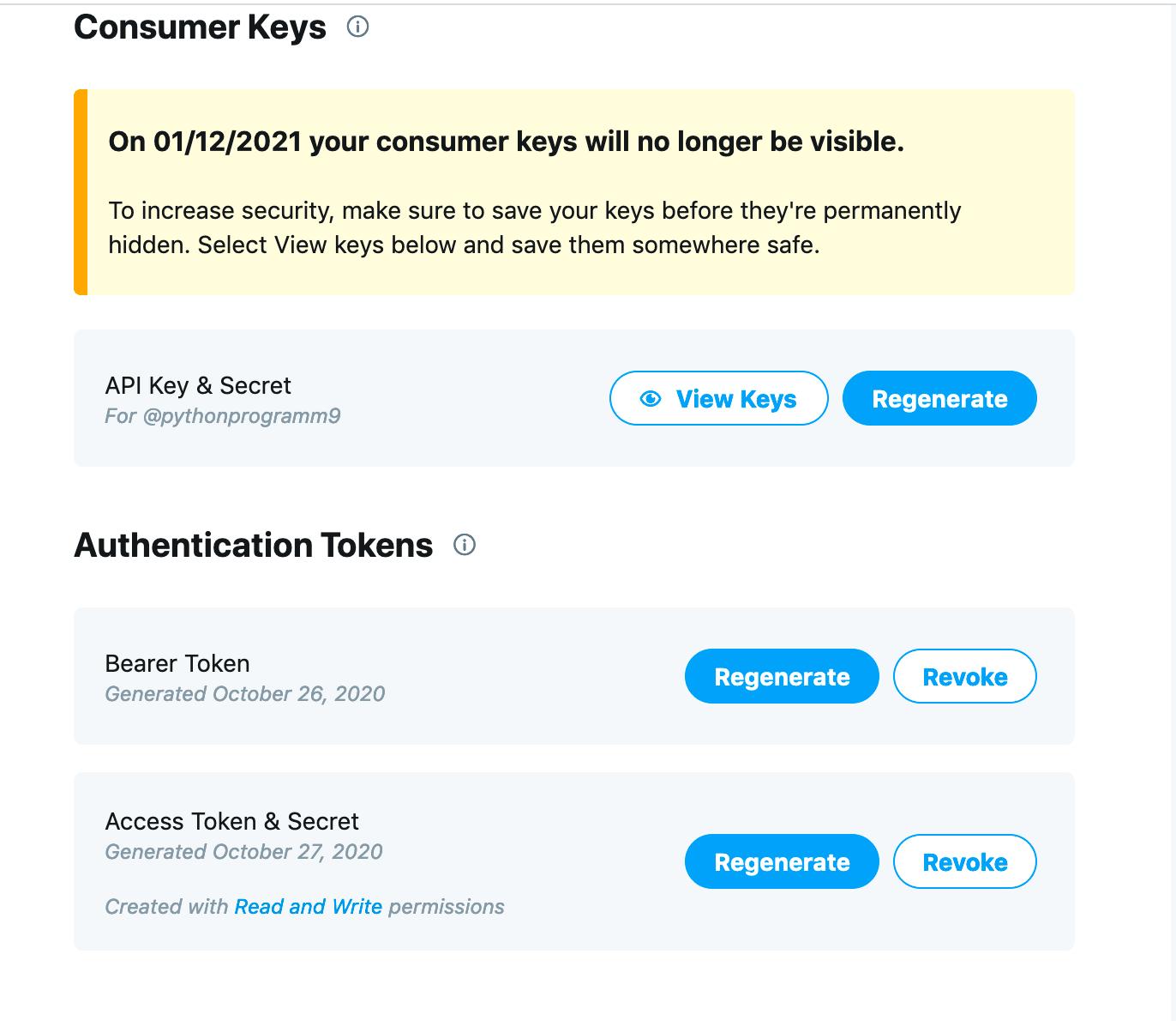 Twitter tokens