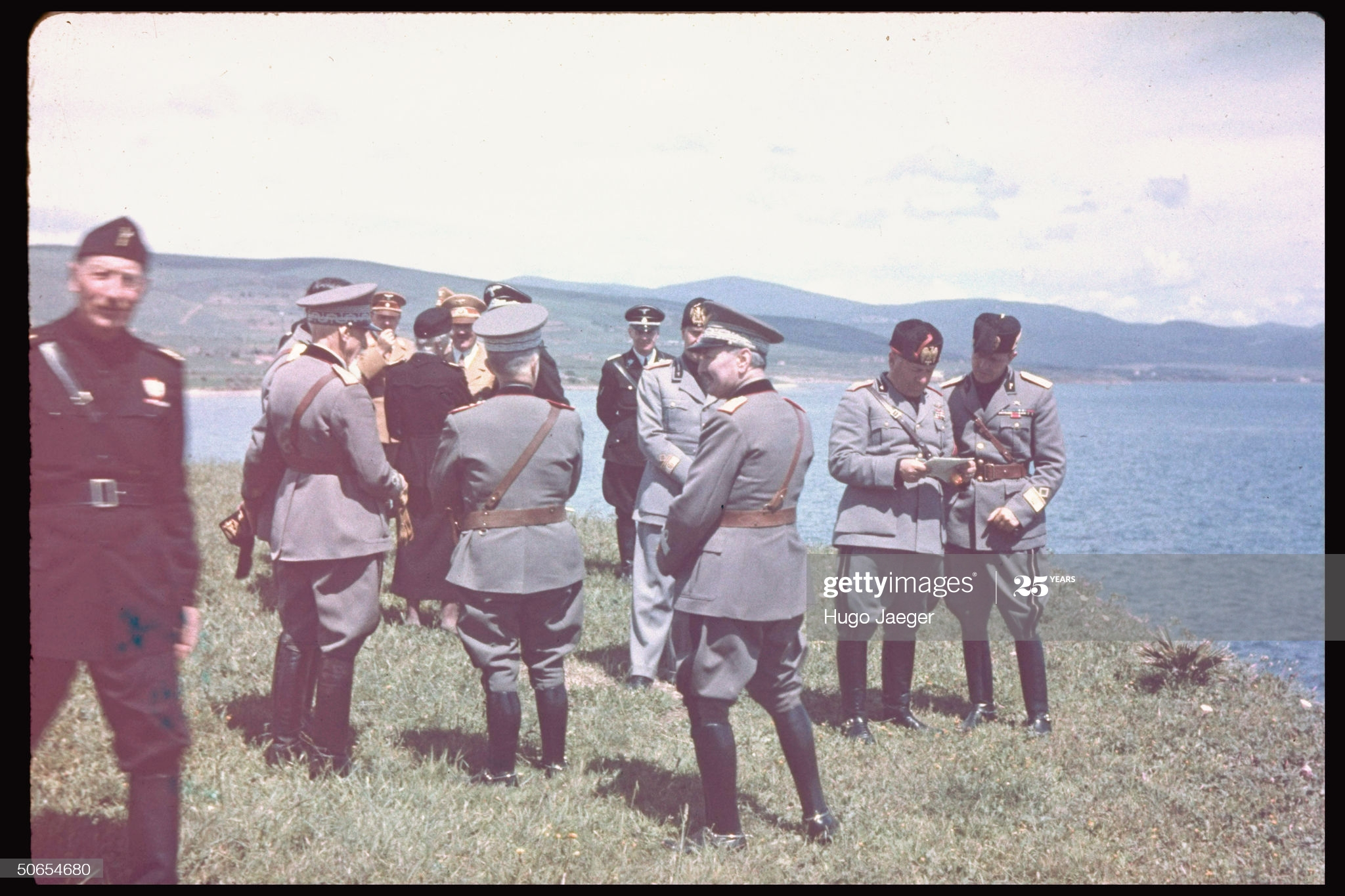 Color photos of Benito Mussolini and Adolf Hitler