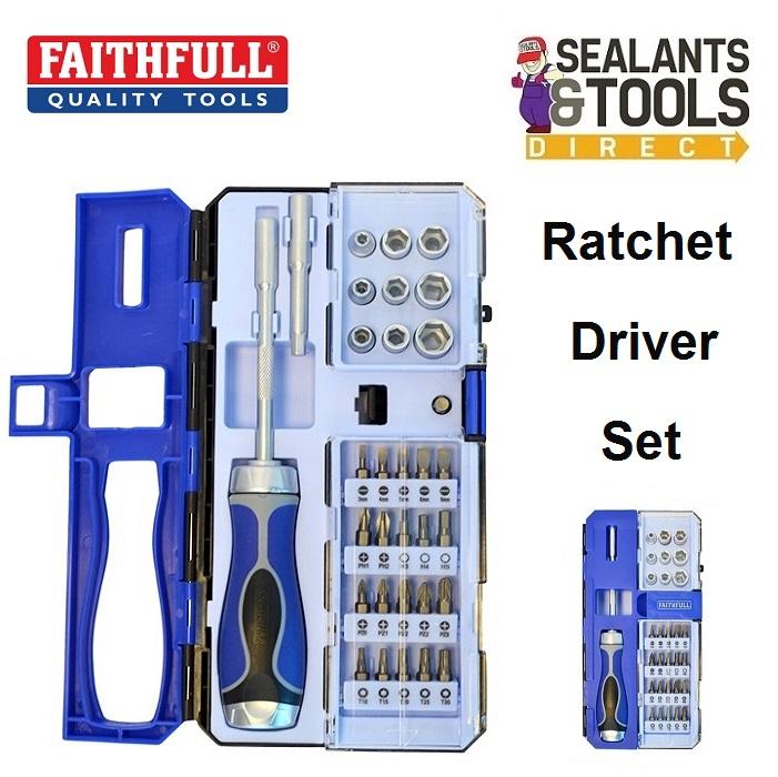 Faithfull Ratchet Screwdriver and Bit Socket Driver Set FAISDSET33R