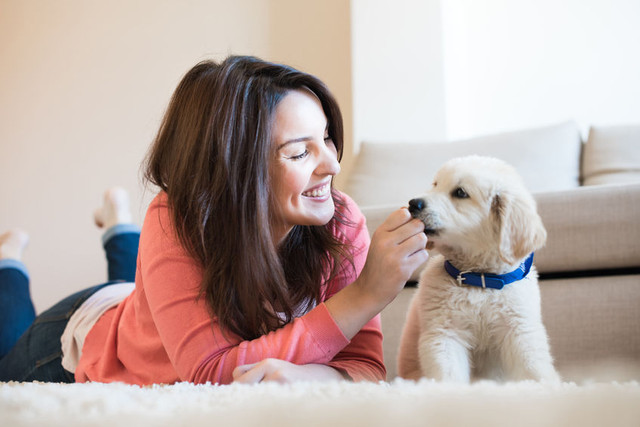 Woman with her pet