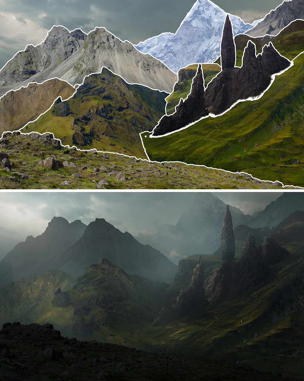 before and after 9 digital landscapes photoshop video training