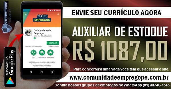 AUXILIAR DE ESTOQUE COM SALÁRIO DE R$ 1087,00 PARA EMPRESA DE LOGÍSTICA