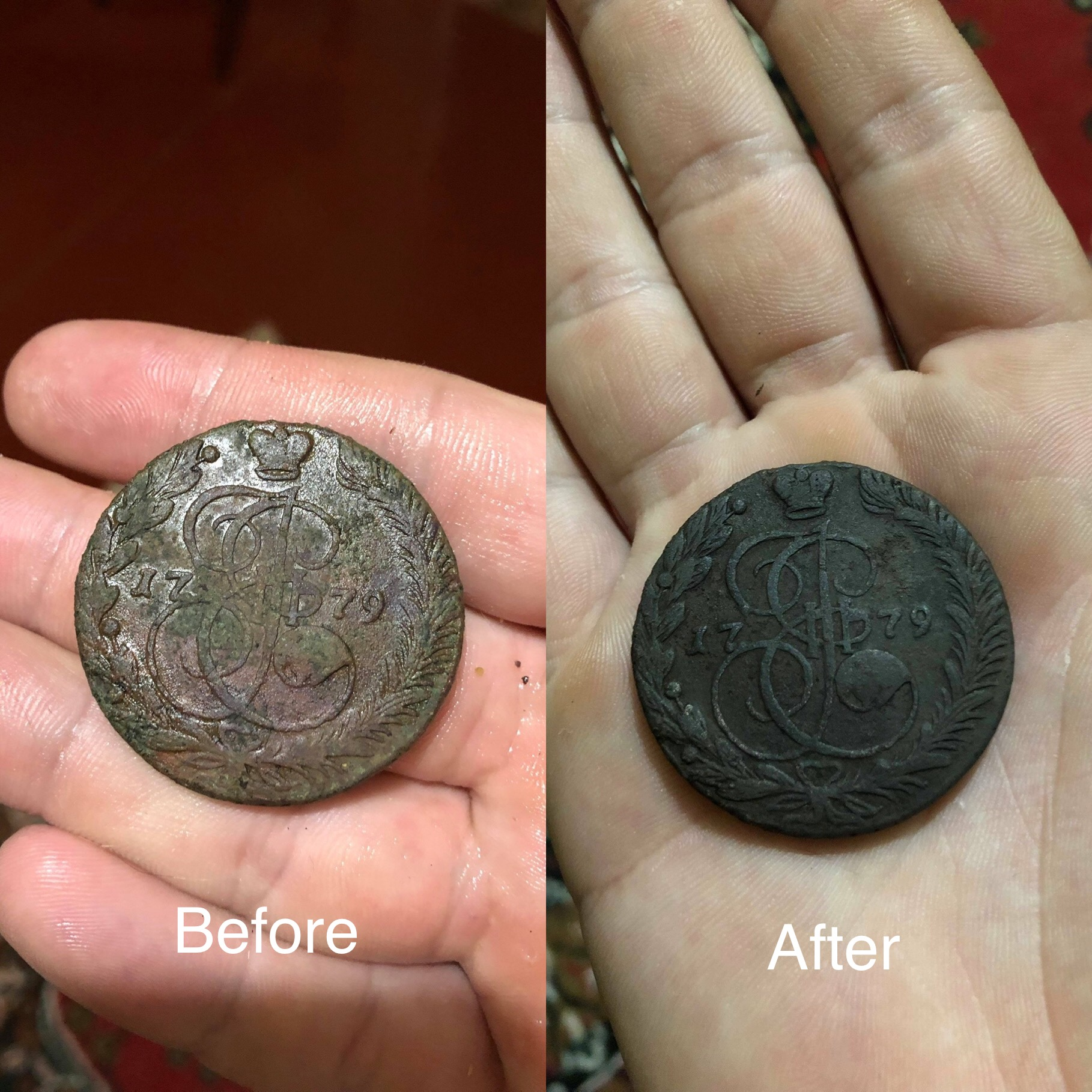 Obverse coins before and after cleaning.