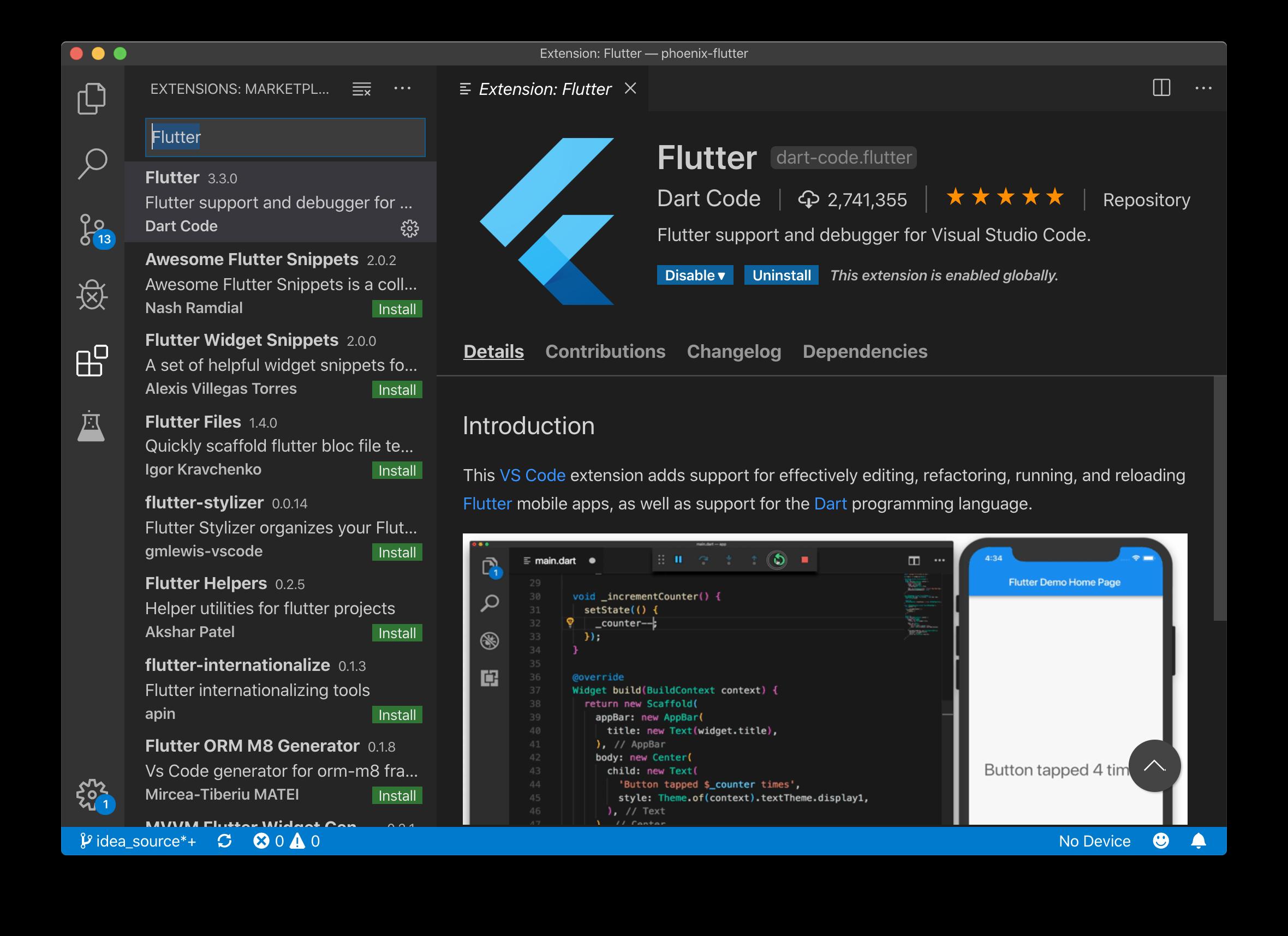 VSC Flutter plugin
