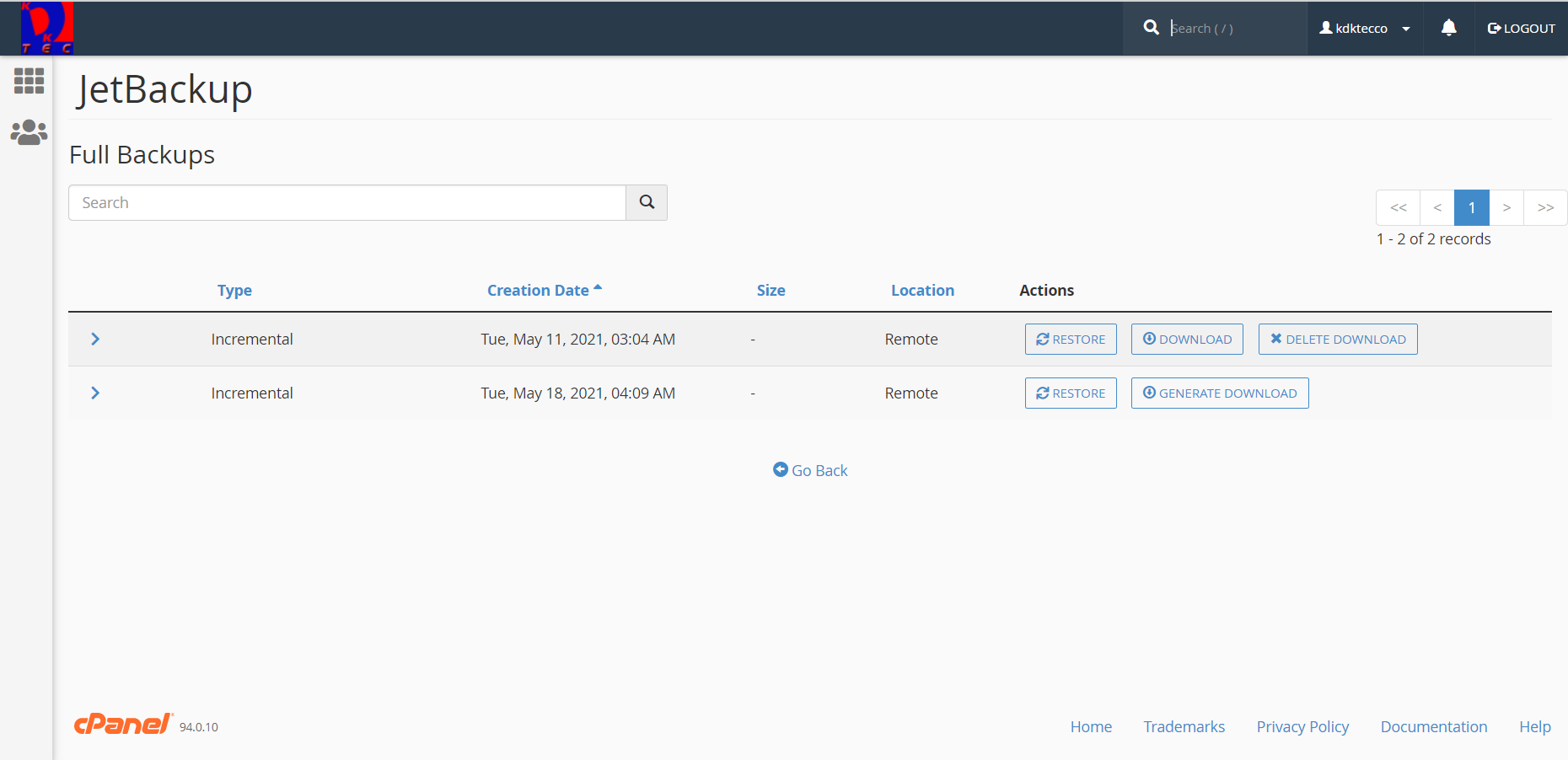 Generated backup download option in the JetBackup Dashboard