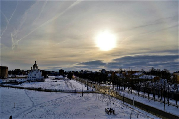 Солнечное гало в Ступино в начале февраля