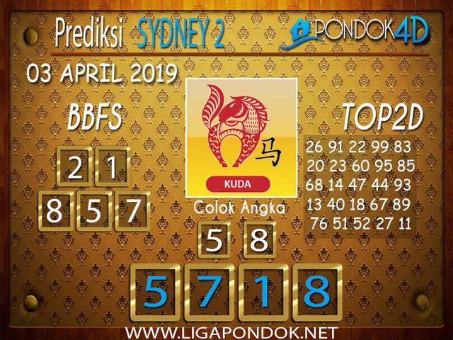 Prediksi Togel SYDNEY 2 PONDOK4D 03 APRIL 2019