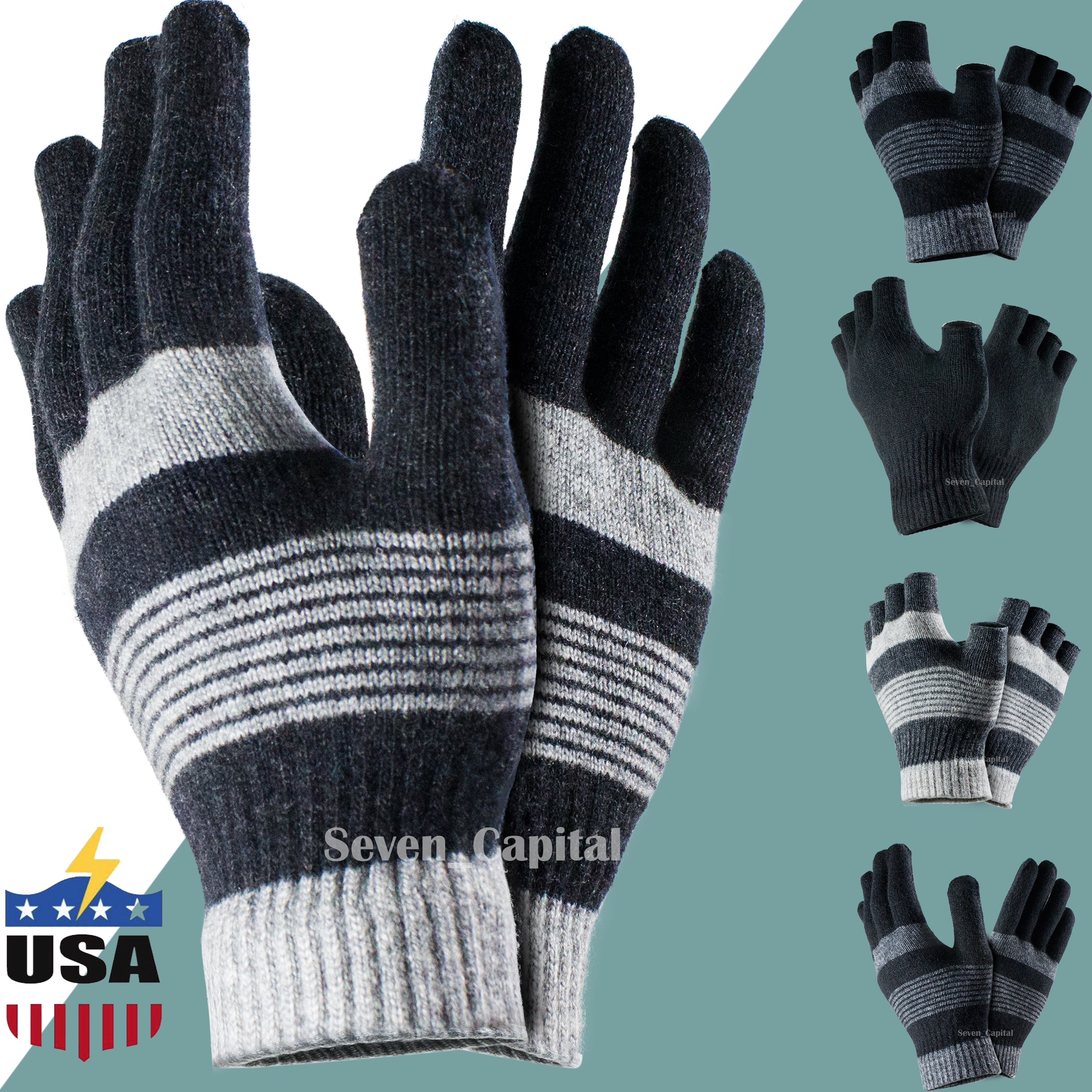 Winter Warm Sports Cycling Finger Less And Half Finger Knitted Mitten Gloves