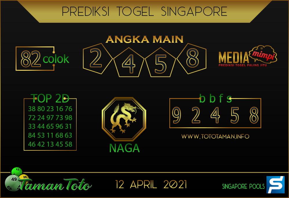 Prediksi Togel SINGAPORE TAMAN TOTO 12 APRIL 2021