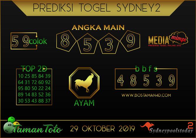 Prediksi Togel SYDNEY 2 TAMAN TOTO 29 OKTOBER 2019
