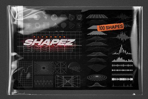 100 Retro Futuristic Shapes