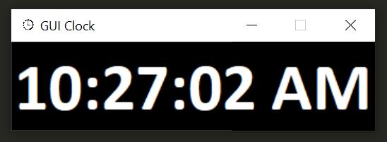 Screenshot of GUI clock