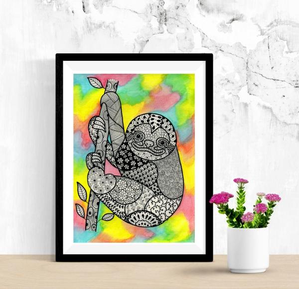 sloth art printable