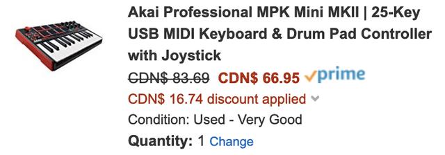 Amazon Canada] Akai Professional MPK Mini MKII $89 99