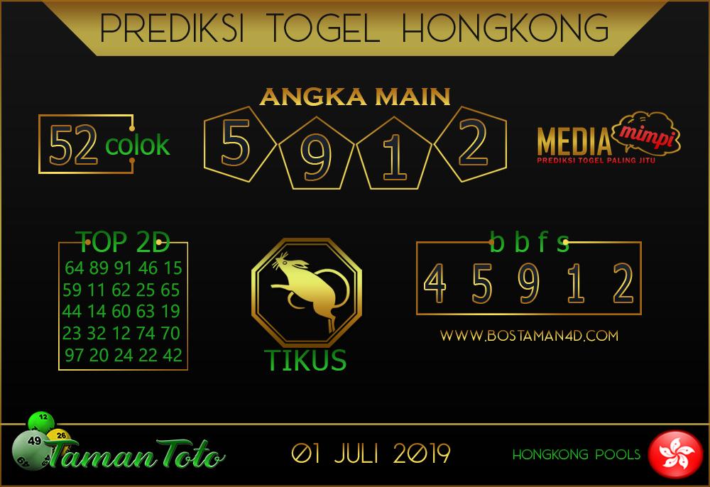 Prediksi Togel HONGKONG TAMAN TOTO 01 JULI 2019